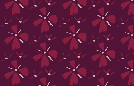 Bordeaux flowers fabric by mesh_and_cloth on Spoonflower - custom fabric