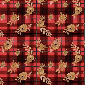 gold rose holiday tartan - xs