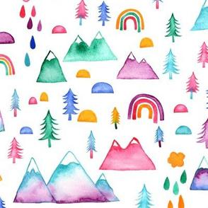 Watercolour mountains - medium scale