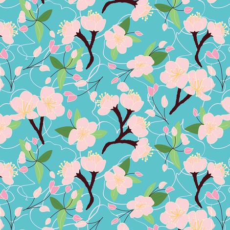Cherry Blossom Pattern  fabric by astrid_natalia on Spoonflower - custom fabric