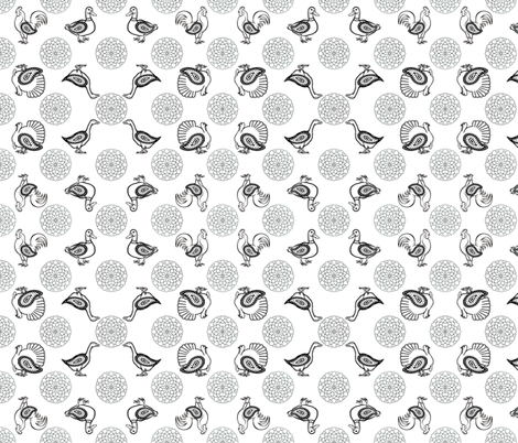 Mandala Poultry Coloring Sheet | Black and White fabric by lochnestfarm on Spoonflower - custom fabric