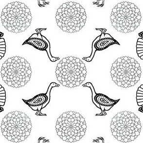 Mandala Poultry Coloring Sheet | Black and White
