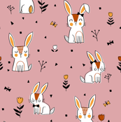 Bunnies in Blush Saffron and Terracotta