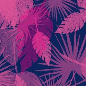 Leafy Navy Pink