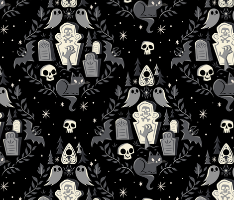 Graveyard Ghouls fabric by therewillbecute on Spoonflower - custom fabric