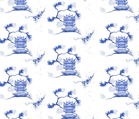 Sketched Pagoda fabric by amber_morgan on Spoonflower - custom fabric