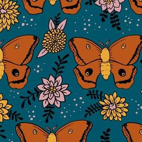 Polyphemus Moths (blue background)