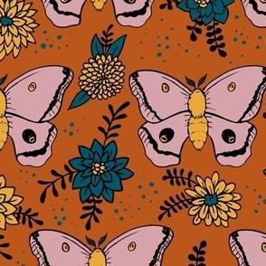 Polyphemus Moths (terra cotta background)