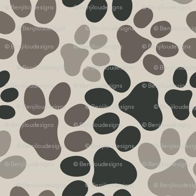 multi paw prints greys on tan