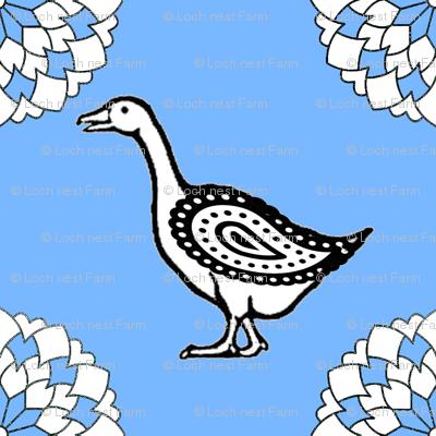 Folk Art Goose Kerchief in Sky Blue