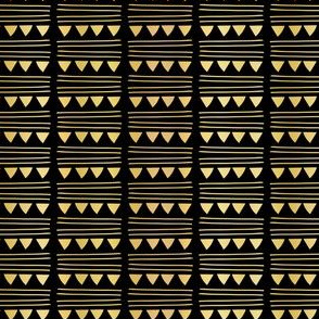 Luxury Gold Black Foil Triangle Party Bunting Garland Seamless Vector