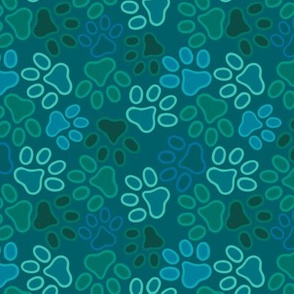paws multi green kitty puppy print