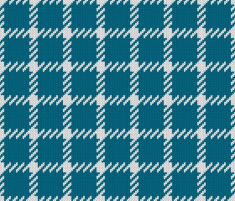 Simple grid knitted plaid in blue Small fabric by danadu on Spoonflower - custom fabric