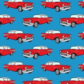 Classic Car - Sedan - 50s 60s - red on blue