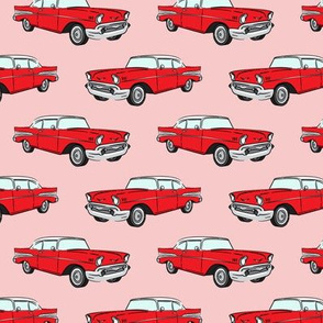Classic Car - Sedan - 50s 60s - red on pink