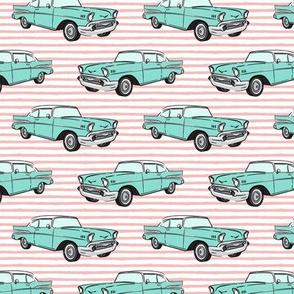 Classic Car - Sedan - 50s 60s - mint on pink stripes