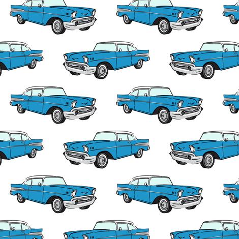 Classic Car - Sedan - 50s 60s -  blue fabric by littlearrowdesign on Spoonflower - custom fabric