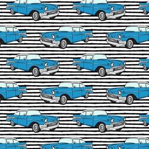 Classic Car - Sedan - 50s 60s - blue on black stripes
