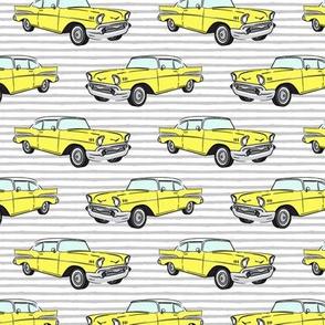 Classic Car - Sedan - 50s 60s - yellow on grey stripes