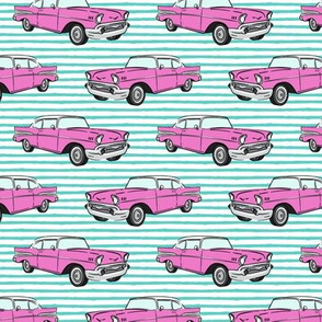 Classic Car - Sedan - 50s 60s - hot pink on aqua stripes
