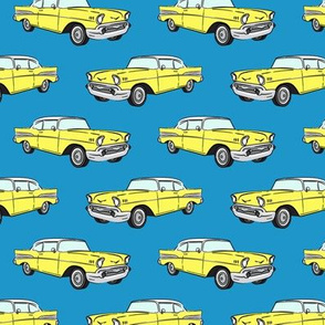 Classic Car - Sedan - 50s 60s - yellow on blue