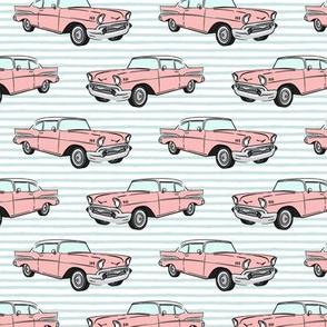 Classic Car - Sedan - 50s 60s - pink on blue stripes