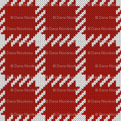 Simple grid knitted plaid in red Small