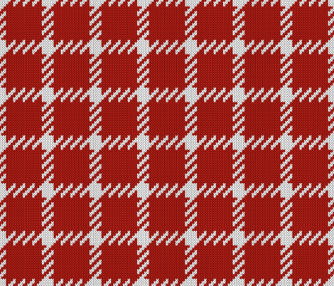 Simple grid knitted plaid in red Small fabric by danadu on Spoonflower - custom fabric