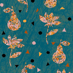 Pears, flowers, and confettis