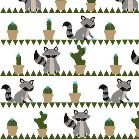 Raccoons & Cacti fabric by dualsunsdesign on Spoonflower - custom fabric