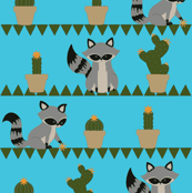 Raccoons & Cacti Teal