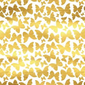 Golden Gold Butterflies on White