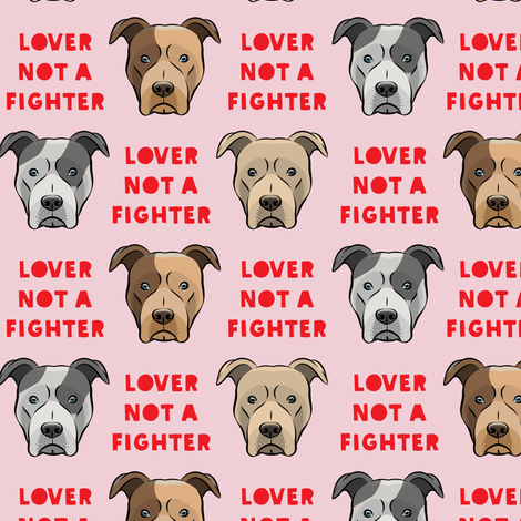 """(1.5"""" scale) lover not a fighter - pit bull on pink (red text) C18BS fabric by littlearrowdesign on Spoonflower - custom fabric"""