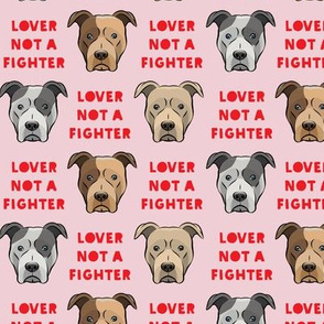 "(1.5"" scale) lover not a fighter - pit bull on pink (red text) C18BS"