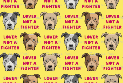 """(1.5"""" scale) lover not a fighter - pit bull on yellow (raspberry text) C18BS"""