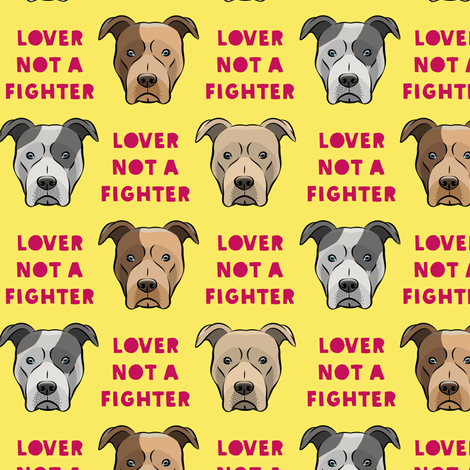 """(1.5"""" scale) lover not a fighter - pit bull on yellow (raspberry text) C18BS fabric by littlearrowdesign on Spoonflower - custom fabric"""
