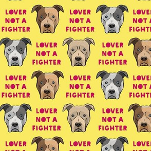 "(1.5"" scale) lover not a fighter - pit bull on yellow (raspberry text) C18BS"