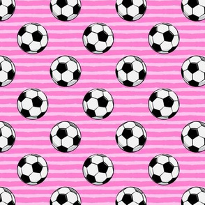 (small scale) soccer balls - pink stripes C18BS