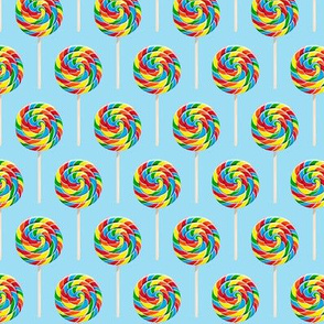 "(2.5"" scale) whirly pops - OG on blue - lollipop fabric C18BS"