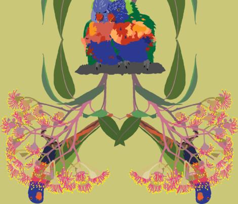 2941-Rainbow-Lorikeet2-Multi-Lime fabric by jennieholtsbaumdesign on Spoonflower - custom fabric