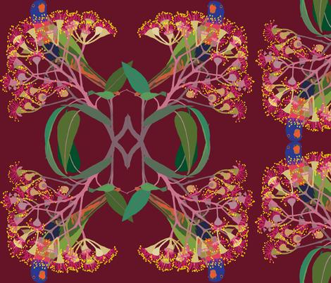 2941-Rainbow-Lorikeet2-Nouveau-Claret fabric by jennieholtsbaumdesign on Spoonflower - custom fabric