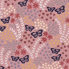 Ditsy Butterfly Floral - pink