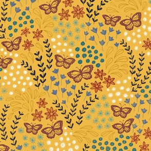 Ditsy Butterfly Floral - mustard