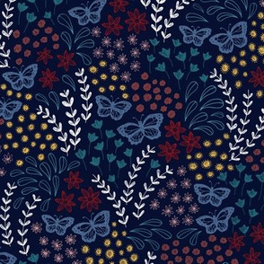 Ditsy Butterfly Floral - navy