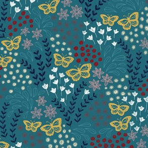 Ditsy Butterfly Floral - teal