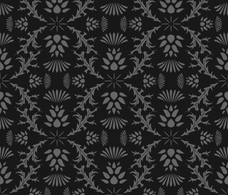 Monochrome Thistles fabric by thewellingtonboot on Spoonflower - custom fabric