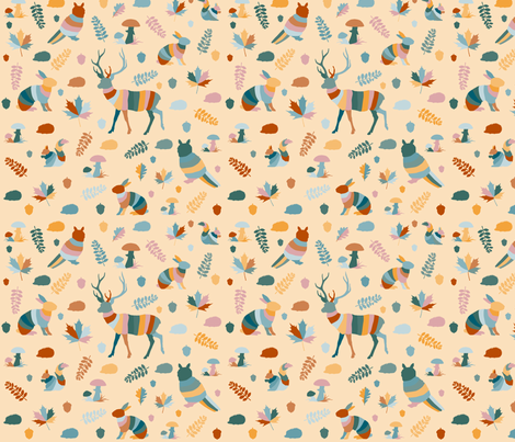 animales del bosque_bright_yellow fabric by colorofmagic on Spoonflower - custom fabric
