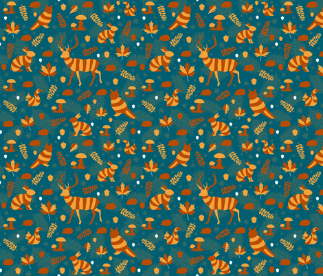 animales del bosque II fabric by colorofmagic on Spoonflower - custom fabric