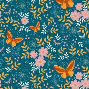 Floral Butterflies - Lagoon, Saffron, Terracotta and Blush colours