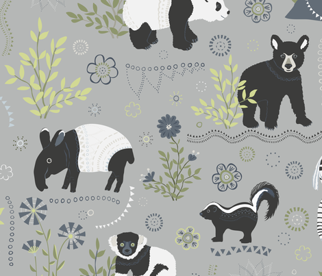 Zoo babies - larger scale fabric by rachelmacdonald on Spoonflower - custom fabric